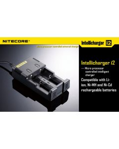 Nitecore i2 batterilader for 2 stk. 18650 batt 220v
